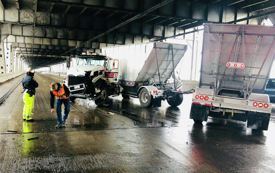 A big rig traveling eastbound on the Bay Bridge around noon Wednesday crashed and jack-knifed, closing lanes to cause a severe traffic alert, authorities said. Photo: California Highway Patrol