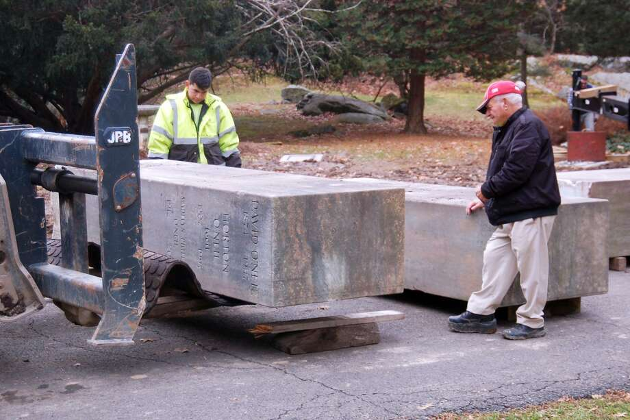 Six historic monoliths, each one weighing 10,000 pounds, were placed at the Montgomery Pinetum property and will be surrounded with new landscaping. Photo: Ken Borsuk / Contributed Photo / Greenwich Time
