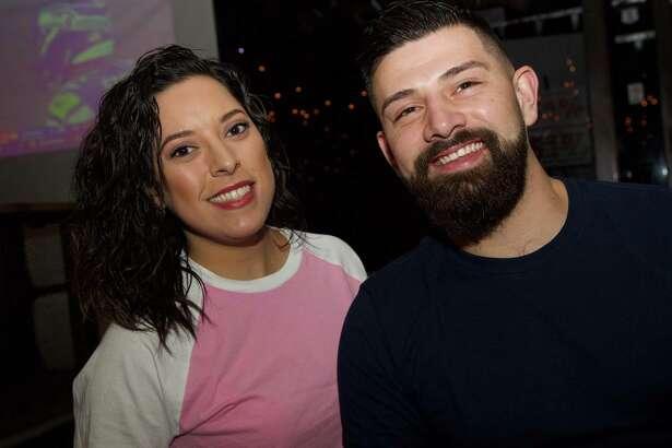 Daniela Montalvo and Allen Thompson are at Bentley's Bar.