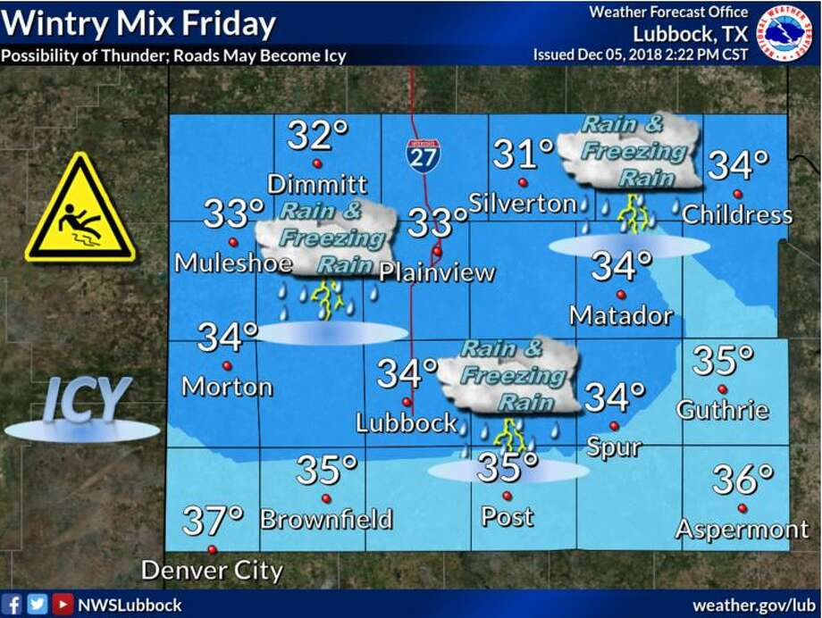 After a cold front moves through on Thursday, we'll start to see a chance for wintry weather late Thursday night. Rain and freezing rain are expected across the entire forecast area all day Friday. This event is expected to last into Saturday. Photo: National Weather Service