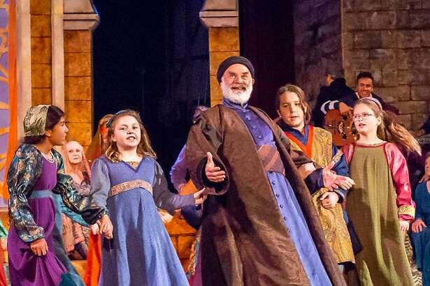 An image from the Christmas Revels show at the Scottish Rite Temple in Oakland.