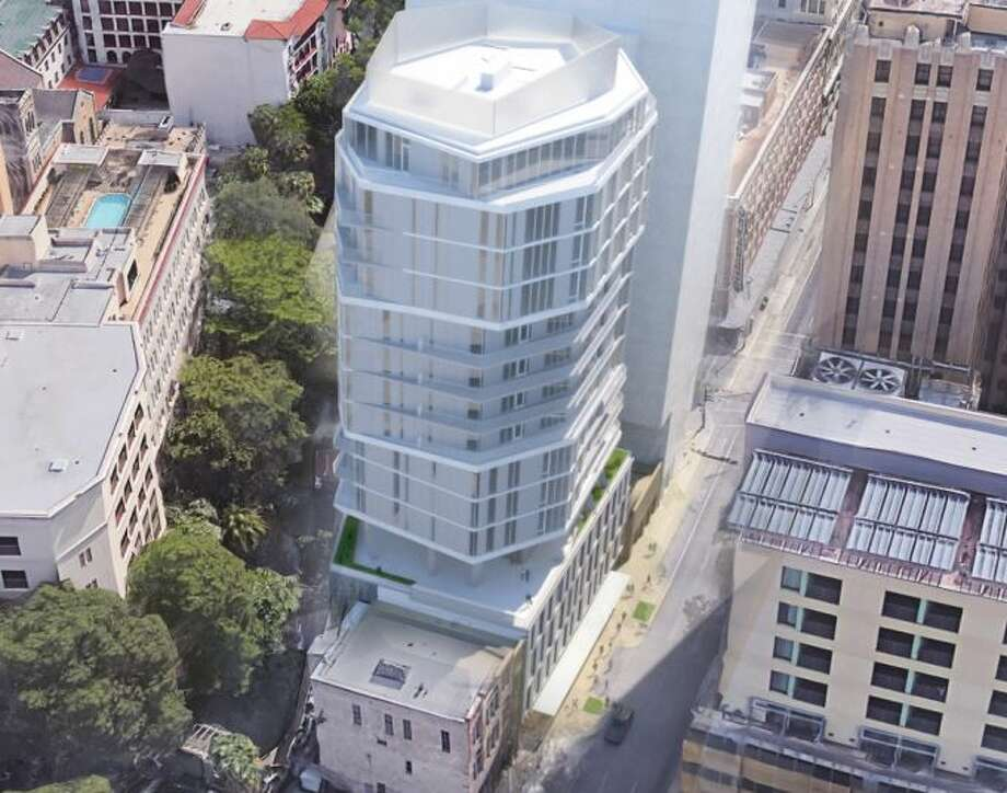 The Floodgate Tower, a 17-story octagonal apartment and retail complex planned for downtown San Antonio, got approval to move forward from the San Antonio Historic Design and Review Commission Wednesday afternoon. Photo: Courtesy Of Rhode Partners