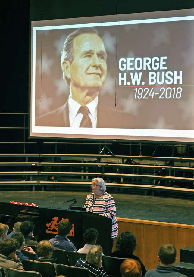 Dean of Faculty and Academic Programs Johnna Yeskey speaks during the presentation honoring President George H.W. Bush at Greenwich Country Day School in Greenwich, Conn. Wednesday, Dec. 5, 2018. The school held a short program featuring photos and stories of the late president during his days as a student at GCDS and spoke of his character and political legacy. Photo: Tyler Sizemore / Hearst Connecticut Media / Greenwich Time