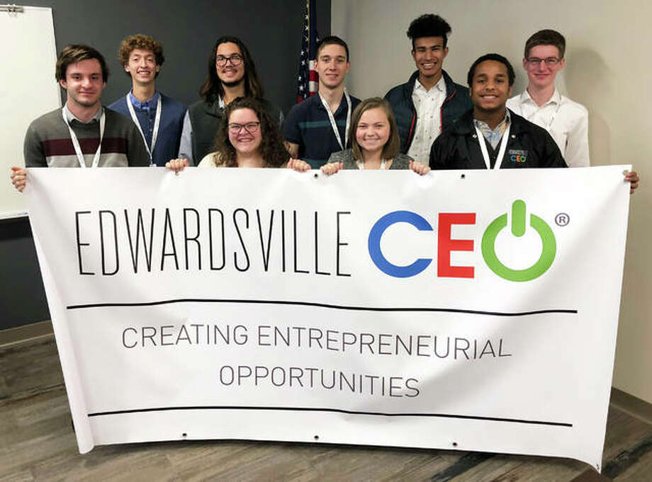 Members of the inaugural Edwardsville CEO Program pose in celebration of the newly formed initiative. Pictured (L-R): Back row — D.J. Villhard, Trevor Lovatto, Jared Korte, Elijah Burns, Adam Walters; Front row — Nick Thompson, Gwen Pendall, Rebecca Raymer, Kenneth Bond. Photo: For The Intelligencer
