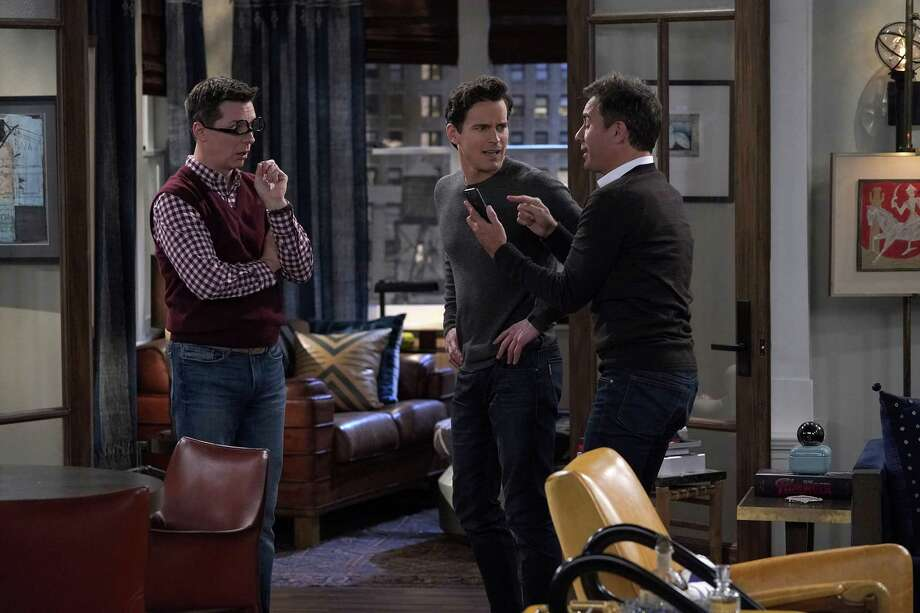 "WILL & GRACE -- ""Anchor Away"" Episode 206 --  Pictured: (l-r) Sean Hayes as Jack McFarland, Matt Bomer as McCoy Whitman, Eric McCormack as Will Truman -- (Photo by: Chris Haston/NBC) Photo: NBC / 2018 NBCUniversal Media, LLC. Credit: Chris Haston/NBC"