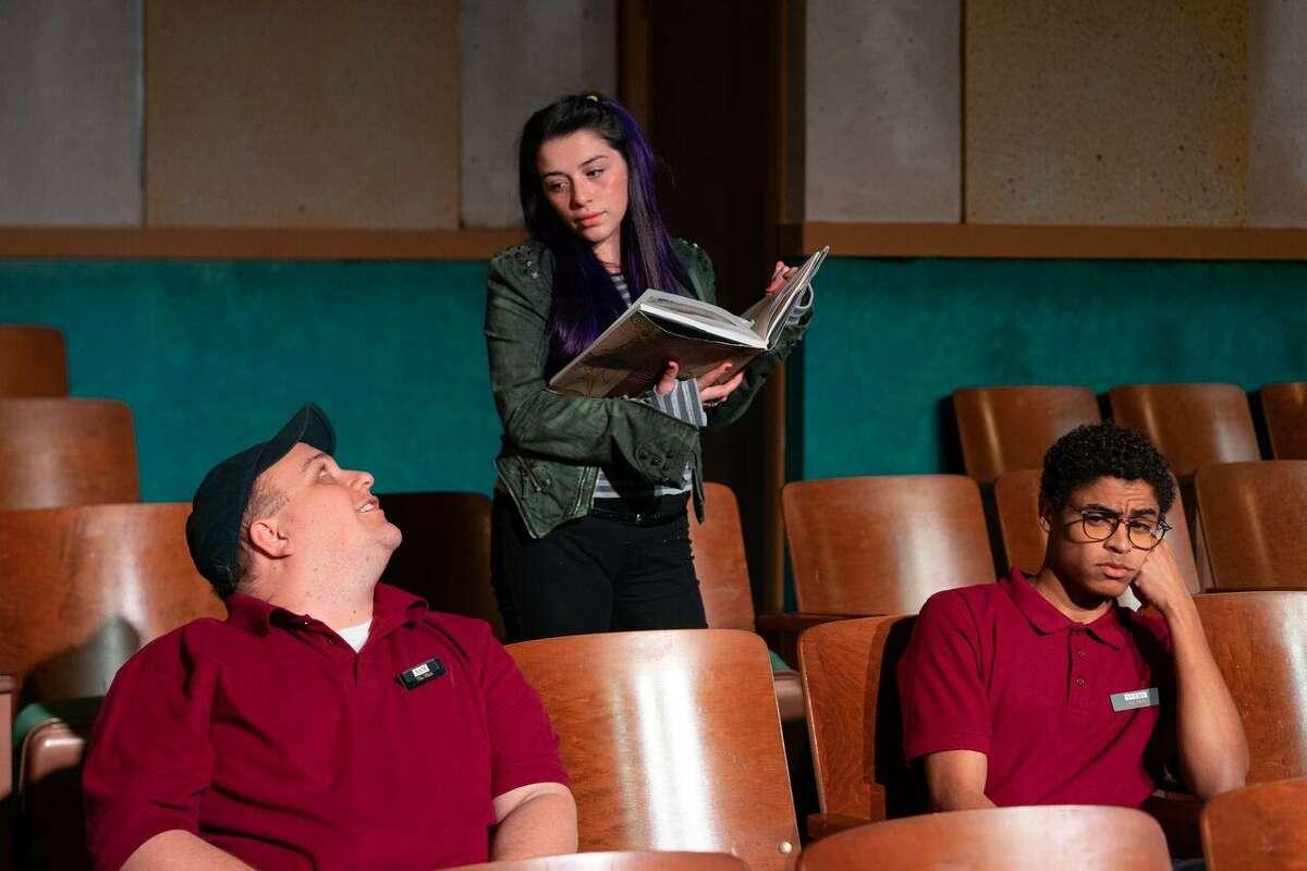 """Greg Cote, Avery Padilla and Antonio Lasanta in """"The Flick,"""" Horse Head Theatre Co."""