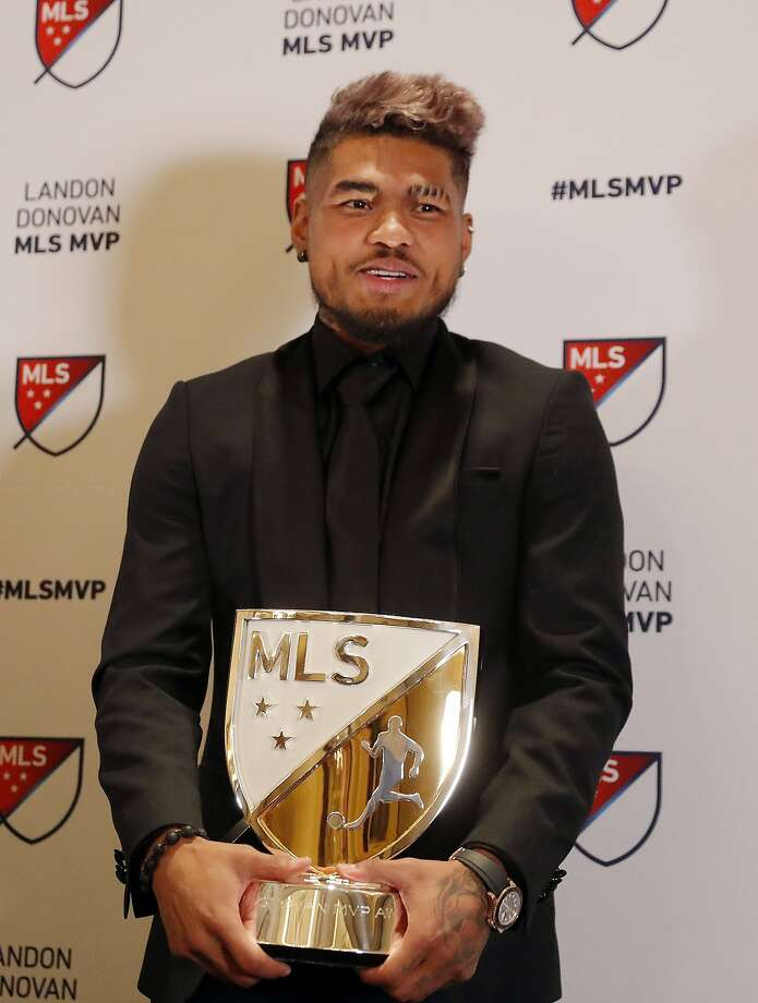 Atlanta United soccer player Josef Martinez poses with the trophy after he was presented with the Landon Donovan MLS MVP award, Wednesday, Dec. 5, 2018, in Atlanta. (AP Photo/John Bazemore) Photo: John Bazemore / Associated Press