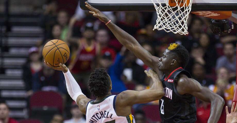 PHOTOS: Rockets game-by-game Houston Rockets center Clint Capela (15) tries to block a shot by Utah Jazz guard Donovan Mitchell (45) during the second half of an NBA basketball game between the Houston Rockets and Utah Jazz, Wednesday, Oct. 24, 2018 in Houston. Browse through the photos to see how the Rockets have fared in each game this season. Photo: Mark Mulligan/Staff Photographer