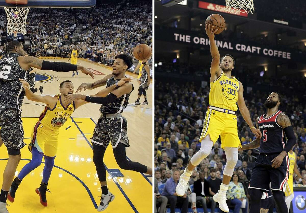 (Left) Stephen Curry (30) is fouled on a play defended by LaMarcus Aldridge (12) and Dejounte Murray (5) that resulted in an injury for Curry in the first half as the Golden State Warriors played the San Antonio Spurs at Oracle Arena in Oakland, Calif., on Thursday, March 8, 2018. ; (right) Stephen Curry (30) puts in a layup in the first quarter as the Golden State Warriors played the Washington Wizards at Oracle Arena in Oakland, Calif., on Wednesday, October 24, 2018. Photos by Carlos Avila Gonzalez / The Chronicle