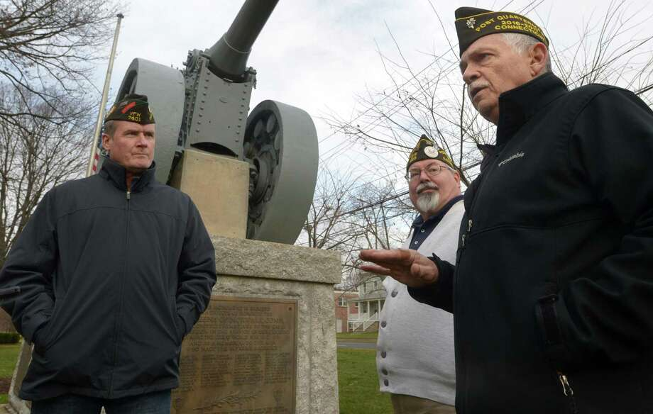 Veterans of Foreign Wars Post 603 Quartermaster-elect Jeff DeWitt, Post Adjutant John Grindstaff and Quartermaster Peter Torrano visit the World War I memorial on Wednesday to announce their plaque unveiling set for Friday morning at 11 a.m. on the Norwalk Green. Post 603 and Norwalk First Taxing District will honor the French gifting of World War I cannon to Norwalk with the unveiling of a special plaque on Pearl Harbor Day. The cannon was built in 1877, saw action at Verdun during World War I and was donated in recognition of service rendered by Americans in the war and in spirit of friendship between the sister republics. Photo: Erik Trautmann / Hearst Connecticut Media / Norwalk Hour