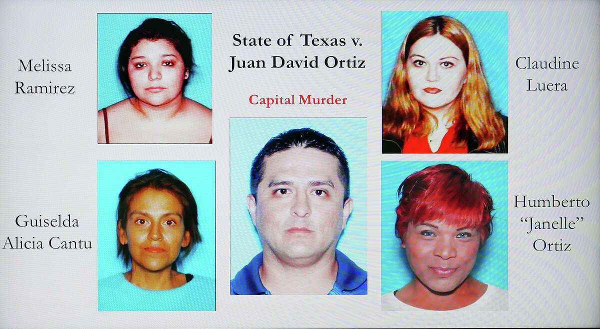 Authorities displayed this image during a news conference on Wednesday, Dec. 5, 2018 at the Webb County Justice Center, where the Webb County sheriff and district attorney announced that Border Patrol agent Juan David Ortiz had been indicted on a capital murder charge in connection with the slaying of four women over a 12-day period in September.
