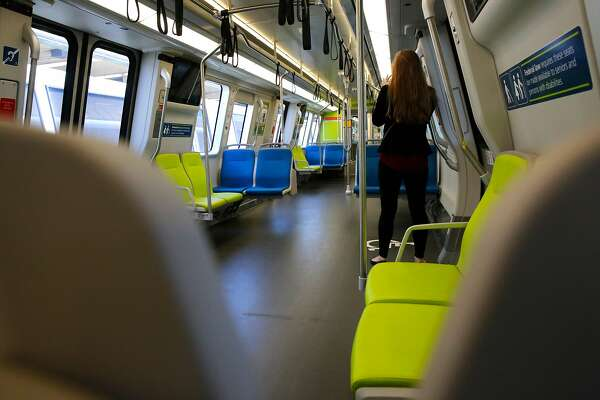 The car's interior as BART shows off one of their new train cars during a demonstration at the South Hayward station, Ca., as seen on Mon. July 23, 2017.