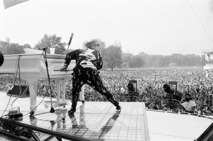 Elton John performing in Central Park, New York, September 1980.
