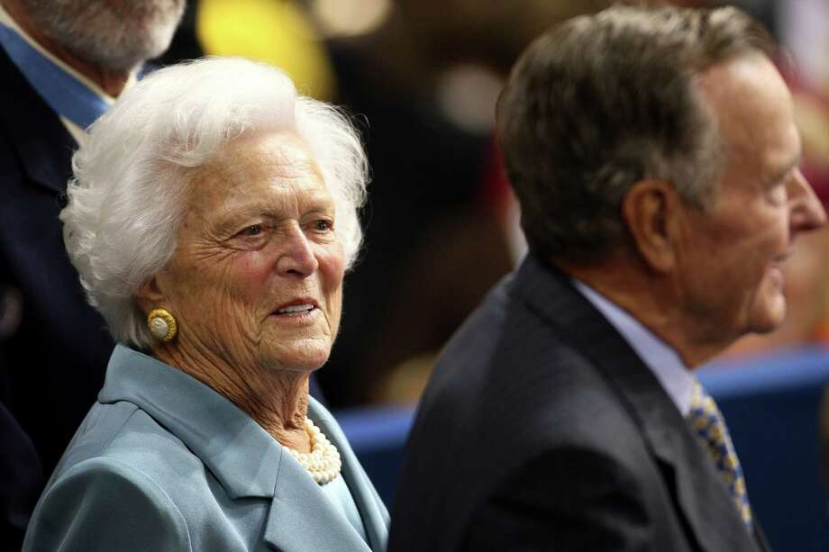 Barbara Bush and her husband, former President George H.W. Bush, acknowledge the audience at the Republican National Convention in St. Paul, Minn., in 2008. Photo: Bloomberg Photo By Daniel Acker / Bloomberg