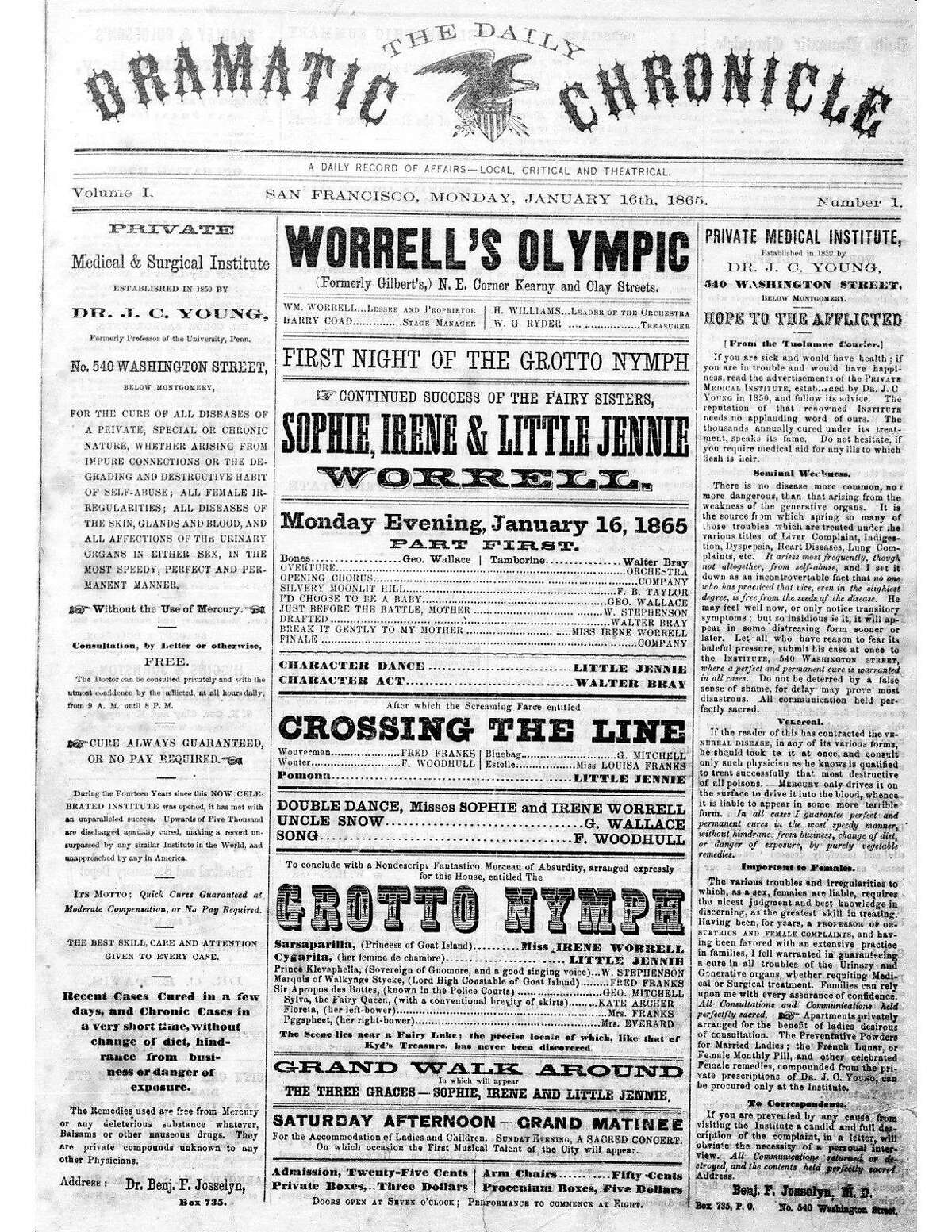 Historic Chronicle Front Page January 16, 186591 First San Francisco Chronicle, then known as the Daily Dramatic Chronicle Chron365, Chroncover