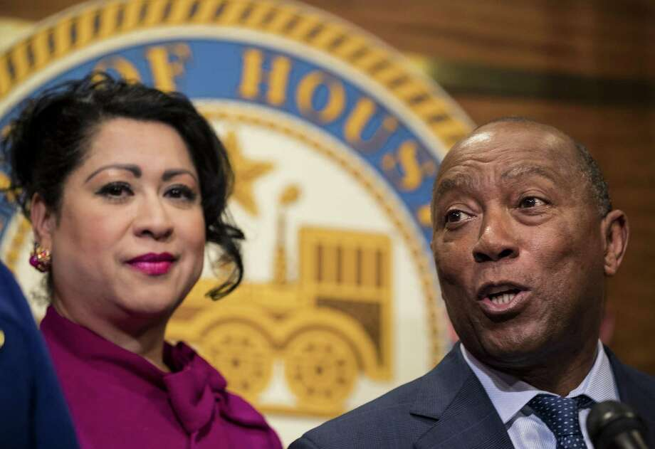 Laura Murillo, president and CEO of the Hispanic Chamber of Commerce, with Houston Mayor Sylvester Turner. Murillo and the chamber say companies in Houston need to bring more Hispanic executives into C-suites and board rooms. Photo: Brett Coomer, Staff / Houston Chronicle / © 2018 Houston Chronicle