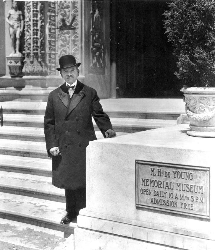 Michael De Young in front of the M.H. De Young Memorial Museum   no date, no photographer  photo ran 02/15/1970, p. 43 This World