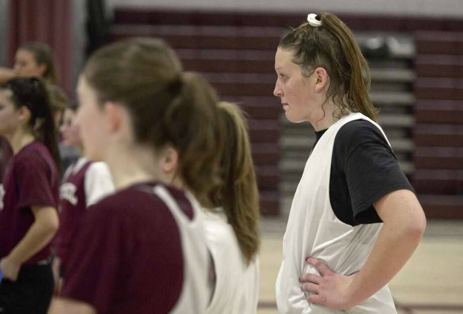 Bethel's Maranda Nyborg watches the Bethel High School girls varsity practice Wednesday in Bethel. Photo: H John Voorhees III / Hearst Connecticut Media / The News-Times