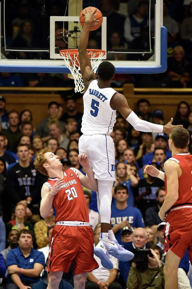 DURHAM, NC - DECEMBER 05: RJ Barrett #5 of the Duke Blue Devils goes up for a dunk against Max Twyman #20 of the Hartford Hawks in the second half at Cameron Indoor Stadium on December 5, 2018 in Durham, North Carolina. (Photo by Lance King/Getty Images) Photo: Lance King / 2018 Getty Images
