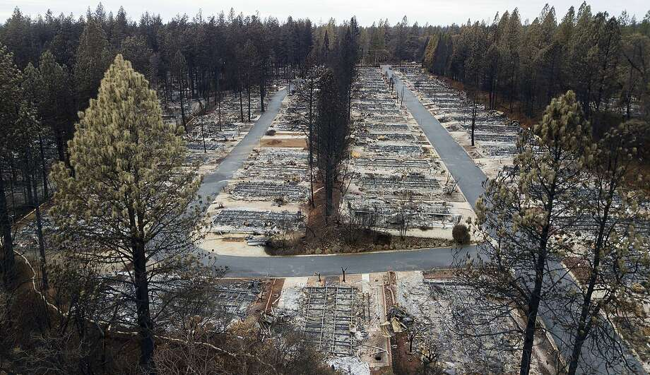 Homes leveled by the Camp Fire line the Ridgewood Mobile Home Park retirement community in Paradise, Calif., on Monday, Dec. 3, 2018. (AP Photo/Noah Berger) Photo: Noah Berger / Associated Press