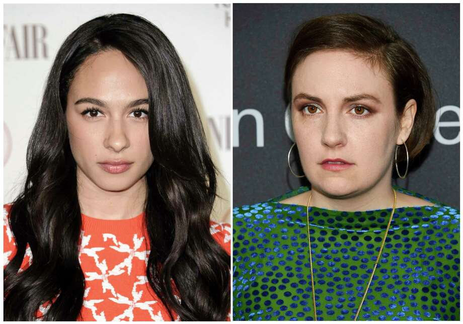 "This combination photo shows actress Aurora Perrineau in Los Angeles on Feb. 17, 2015, left, and actress-writer Lena Dunham in New York on May 29, 2018. Dunham is apologizing to Perrineau for defending a writer who Perrineau accused of sexual misconduct. Writing Wednesday in The Hollywood Reporter, Dunham says she ""did something inexcusable"" in supporting producer and writer Murray Miller. (AP Photo) / AP"