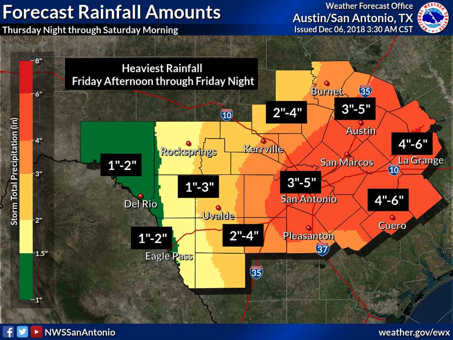 The National Weather Service has issued a flash flood watch for Bexar County in anticipation of heavy rainfall and thunderstorms scheduled to hit the area on Friday. Photo: National Weather Service