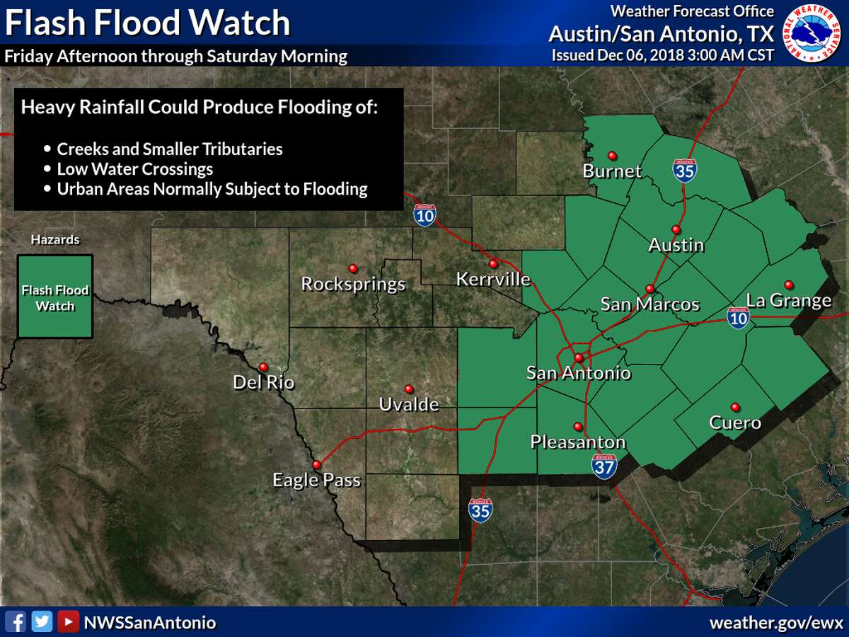 The National Weather Service has issued a flash flood watch for Bexar County in anticipation of heavy rainfall and thunderstorms scheduled to hit the area on Friday.