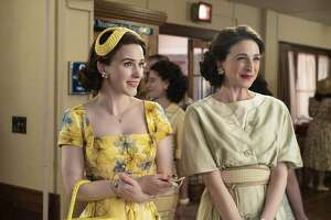 "Rachel Brosnahan (l.) and Marin Hinkle in ""The Marvelous Mrs. Maisel"""