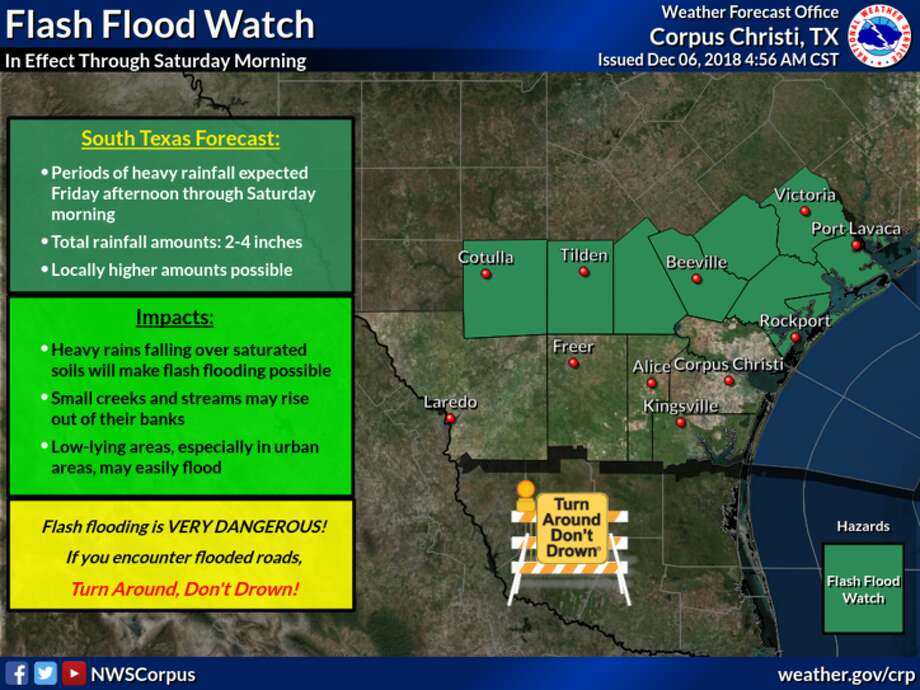 A Flash Flood Watch is in effect for northern portions of South Texas from Friday afternoon through early Saturday morning, according to the National Weather Service. Photo: National Weather Service