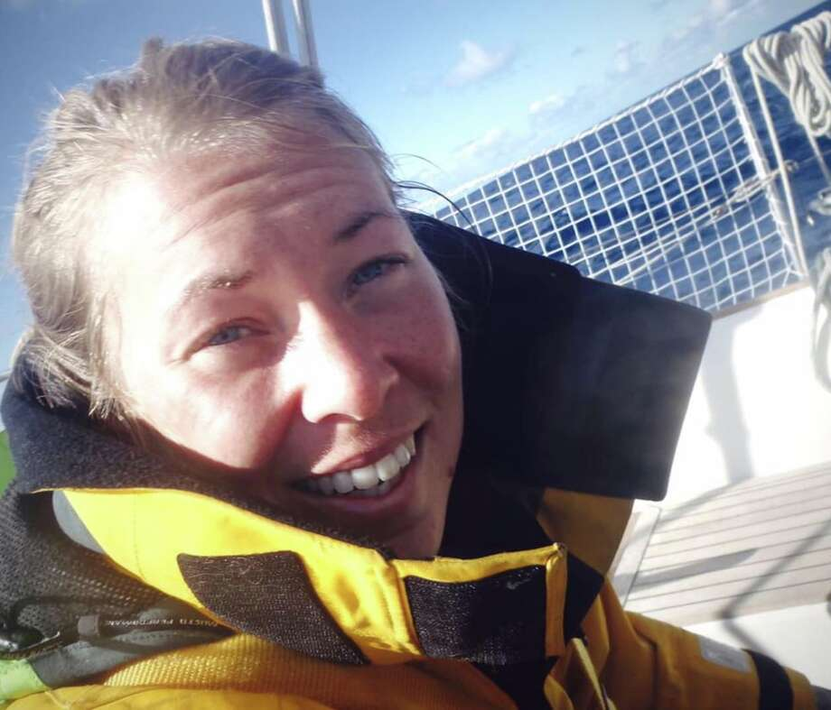 Susie Goodall, 29, was the youngest and lone female entrant in a solo round-the-world sailing race. She is awaiting rescue in the Southern Ocean after a storm dismasted her yacht. Photo: Susie Goodall Racing