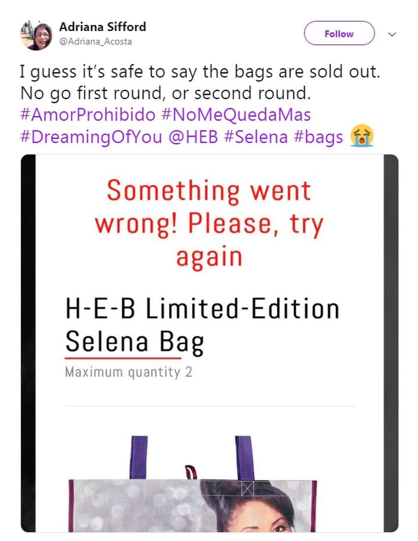 @Adriana_Acosta: I guess it's safe to say the bags are sold out. No go first round, or second round. #AmorProhibido #NoMeQuedaMas #DreamingOfYou @HEB #Selena #bags