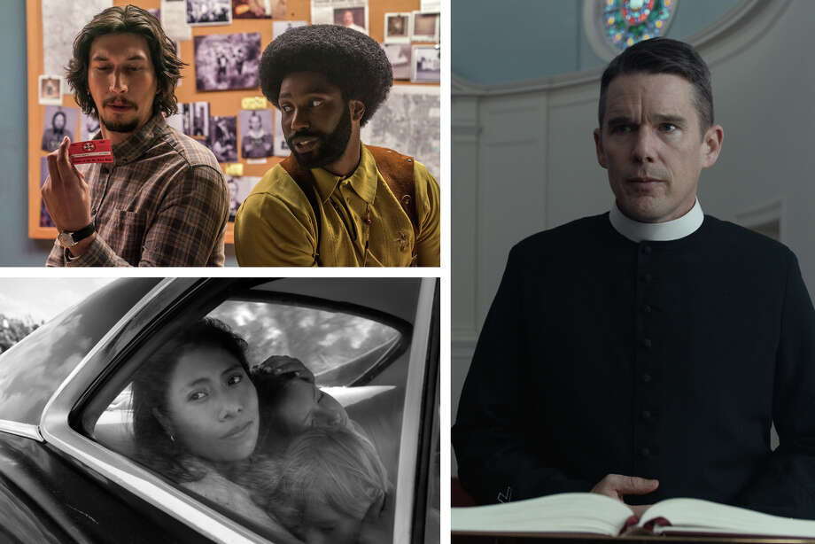 "(Clockwise from upper left) Adam Driver (left) and John David Washington in ""BlacKkKlansman"" ( David Lee, Focus Features); Ethan Hawke in ""First Reformed"" (A24); Yalitza Aparicio in ""Roma"" (Alfonso Cuarón, Netflix) Photo: The Washington Post, David Lee, Focus Features; A24; Alfonso Cuarón, Netflix /  David Lee, Focus Features; A24; Alfonso Cuarón, Netflix"