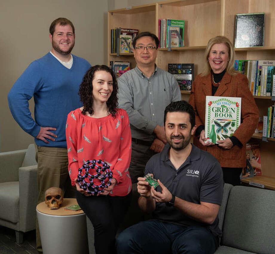 Involved in the SIUE STEM Community Impact Fellowship program are (back L-R) Matt Johnson, Kyong Sup Yoon, PhD, Caroline Pryor, EdD, (front L-R) Carol Colaninno, PhD, Nima Lotfi, PhD. Photo: For The Telegraph