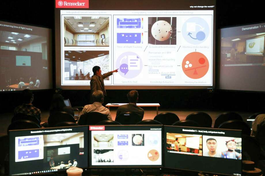 "An artificial intelligence ""situations room"" at Rensselaer Polytechnic Institute will be used this summer to help teach students how to speak Mandarin Chinese. The room is connected to an IBM Watson supercomputer. (Times Union Archive) Photo: Rensselaer/Kris Qua"