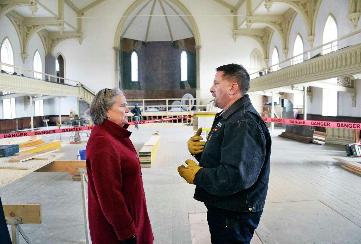 Mayor Meg Kelly and Bonacio Construction President Sonny Bonacio in the Great Hall of the Universal Preservation Hall on Thursday Dec. 6, 2018 in Saratoga Springs, NY. (John Carl D'Annibale/Times Union)