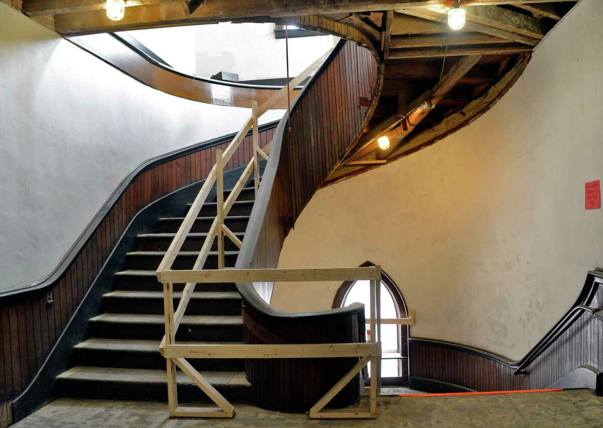 A stairwell is renovated incorporating new safety measures as Universal Preservation Hall undergoes a transformation from an 1871 Methodist Church into a flexible state-of-the-art 700-seat in-the-round performance spaceThursday Dec. 6, 2018 in Saratoga Springs, NY. (John Carl D'Annibale/Times Union)