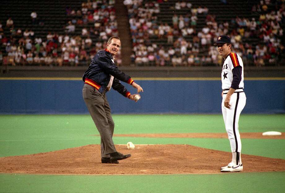 PHOTOS: A look at Nolan Ryan with the Bush family G22032-09   Vice President Bush throws out the first pitch at the Houston Astros game in the Houston Astrodome as Astros pitcher Nolan Ryan looks on. 28 Aug 88 Photo Credit:  George Bush Presidential Library and Museum Take a look at the photos above to see Nolan Ryan hanging out with the Bush family ... Photo: George Bush Presidential Library And Museum