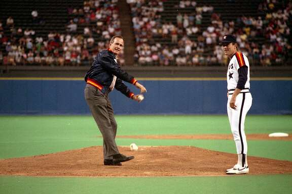 G22032-09   Vice President Bush throws out the first pitch at the Houston Astros game in the Houston Astrodome as Astros pitcher Nolan Ryan looks on. 28 Aug 88 Photo Credit:  George Bush Presidential Library and Museum