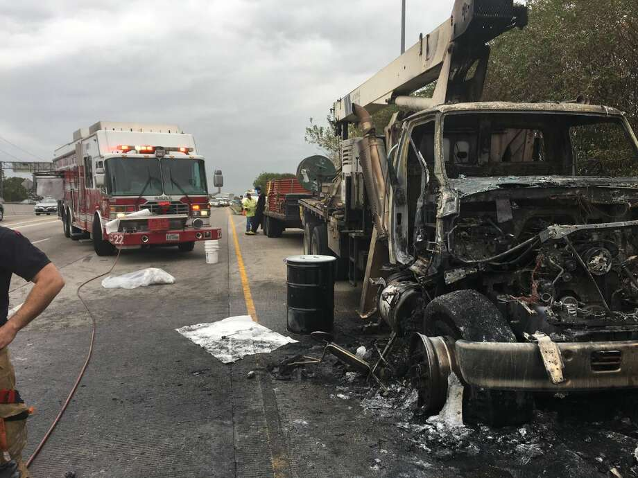 A truck caught fire on I-45 near West Dallas Street on Thursday, Dec. 6, 2018. Photo: Texas Department Of Transportation Houston District