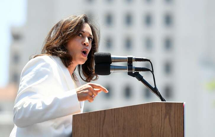 Sen. Kamala Harris (D-Calif.) speaks during a rally on June 30, 2018. An aide to Sen. Harris resigned after The Sacramento Bee inquired about a $400,000 harrassment and retaliation settlement from his time working for her at the California Department of Justice. (Wally Skalij/Los Angeles Times/TNS)