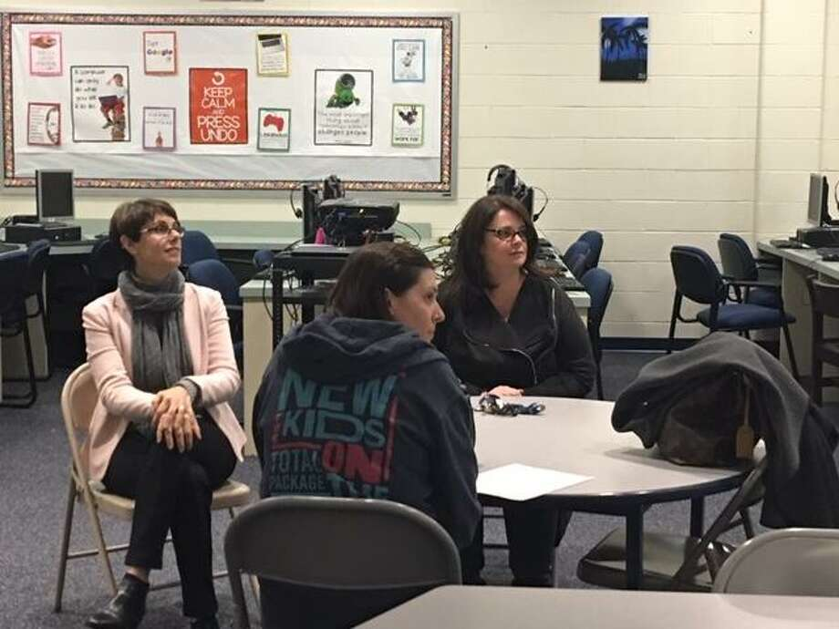 Parents listen to a presentation by ACES at Mead School, Ansonia, on Tuesday, Dec. 4, 2018 Photo: Contributed