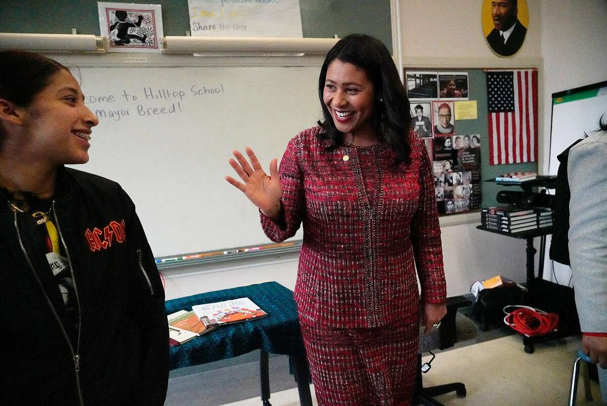 Mayor London Breed (right) waves to Ivonne Bermudez (left), 18 after talking with her after speaking with Hilltop High School students at Hilltop High School on Wednesday, December 5, 2018 in San Francisco, Calif.