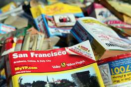 A pile of phone books, which presumably no one wants, in San Francisco.
