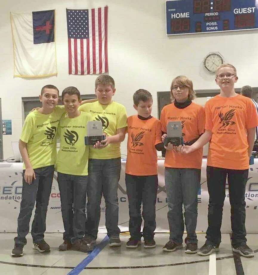 The Cass City 'Flamin' Hawks' and 'Fighter Hawks' secured first place in the Teamwork Challenge at a recent VEX IQ Tournament at Cross Lutheran in Pigeon. (Submitted Photo)
