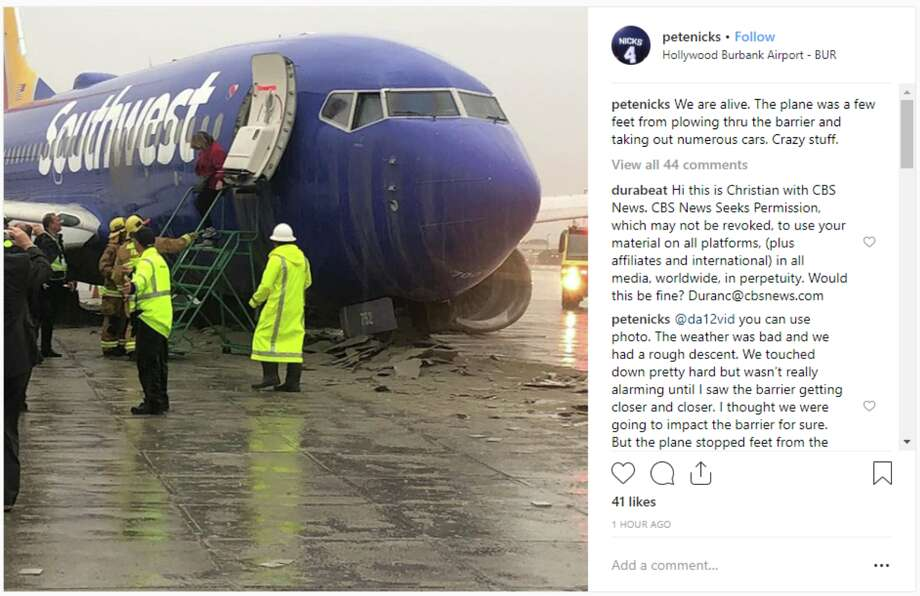 On Thursday, a Burbank bound Southwest flight from Oakland over shot the runway and was caught by runway safety barrier Photo: Pete Nicks - Instagram