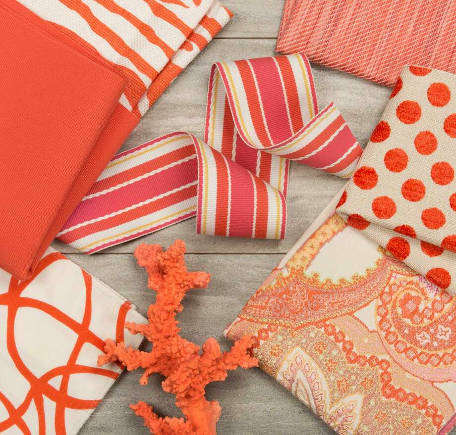 "Kravet, which makes fabric and wall coverings, shows a variety of patterns in tones similar to Living Coral. The Pantone Color Institute named ""Living Coral"" as its 2019 Color of the Year. Photo: Kravet"