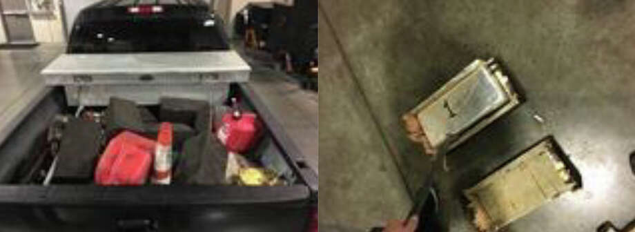 Wooden containersIn January 2017 near Laredo, wooden containers found in the bed of a pickup truck were made to look like vehicle/trailer chocks; 81 kilograms of methamphetamine were seized. Photo: Hurwitz, Aaron R