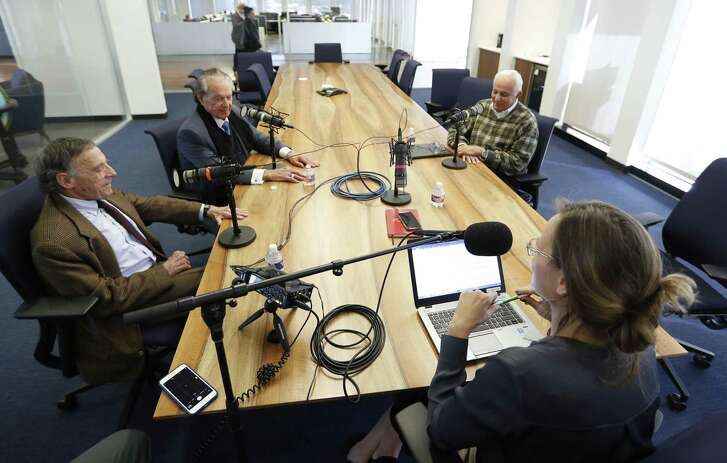 Marvy Finger, left, Welcome Wilson, Sr., center, and Joe Colaco, right, three of Houston's real estate legends who helped to build the modern-day Houston skyline, photographed while recording a podcast with Nancy Sarnoff, Thursday, Nov. 15, 2018, in Houston.