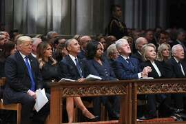 President Donald Trump and first lady Melania Trump are joined by three former presidents in the front row at the National Cathedral in Washington for the funeral of former President George H.W. Bush on Wednesday, Dec. 5, 2018. From left: Trump; the first lady; Barack and Michelle Obama; Bill and Hillary Clinton; and Jimmy Carter.  (Tom Brenner/The New York Times)