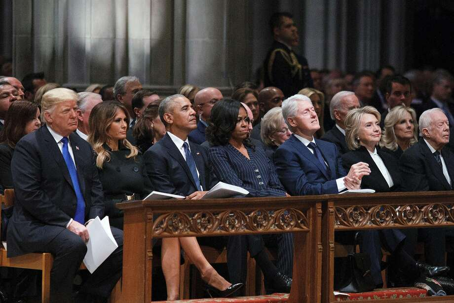 President Trump and wife Melania sit with past presidents and first ladies at George H.W. Bush's funeral Wednesday. Photo: Tom Brenner / New York Times
